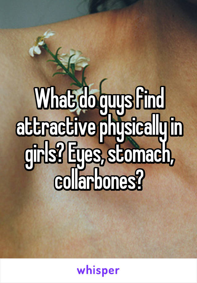 What do guys find attractive physically in girls? Eyes, stomach, collarbones?