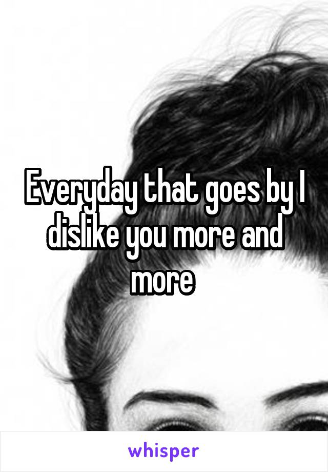 Everyday that goes by I dislike you more and more