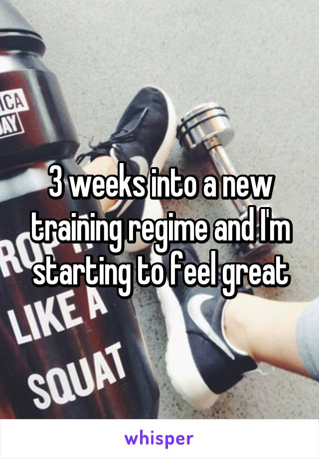 3 weeks into a new training regime and I'm starting to feel great