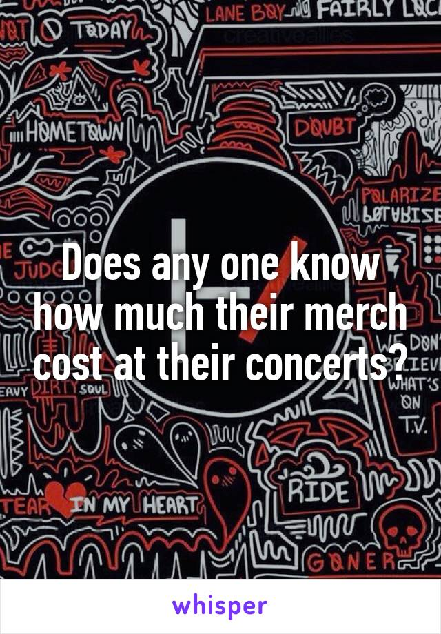 Does any one know how much their merch cost at their concerts?