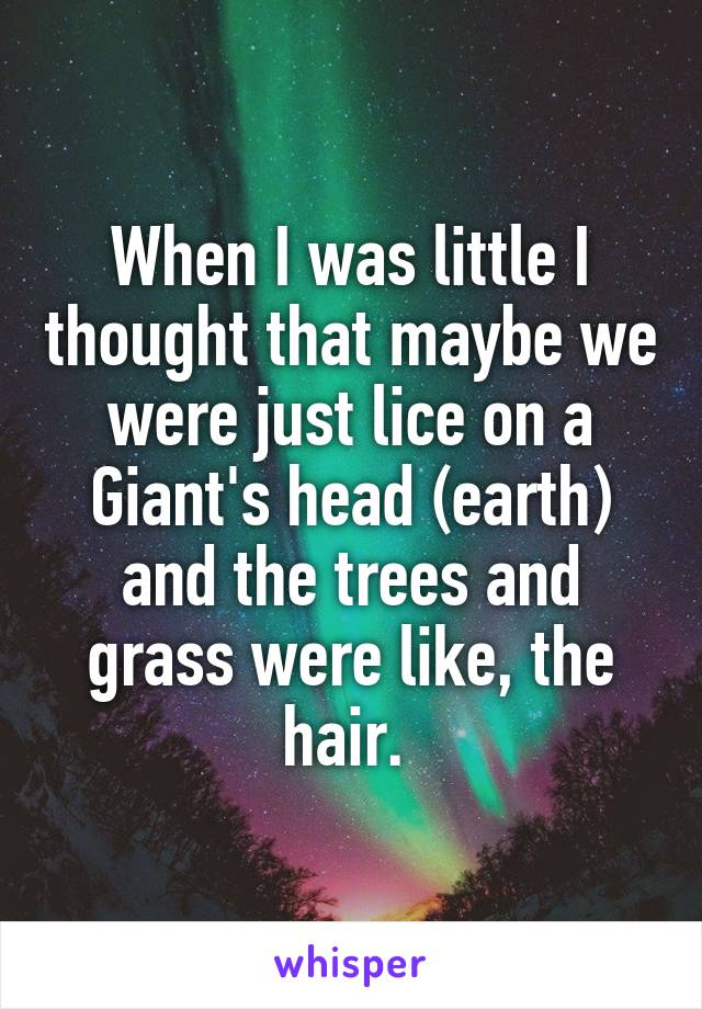 When I was little I thought that maybe we were just lice on a Giant's head (earth) and the trees and grass were like, the hair.