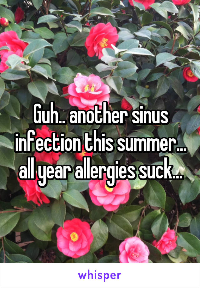 Guh.. another sinus infection this summer... all year allergies suck...