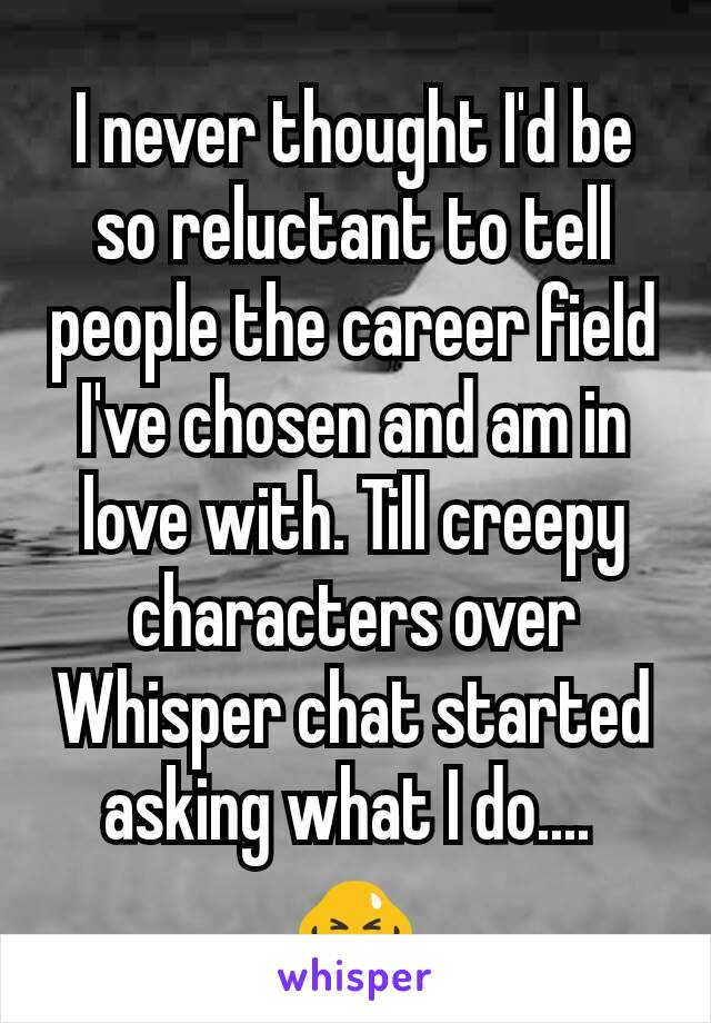 I never thought I'd be so reluctant to tell people the career field I've chosen and am in love with. Till creepy characters over Whisper chat started asking what I do....  🙇