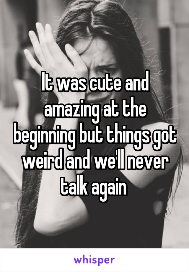 It was cute and amazing at the beginning but things got weird and we'll never talk again