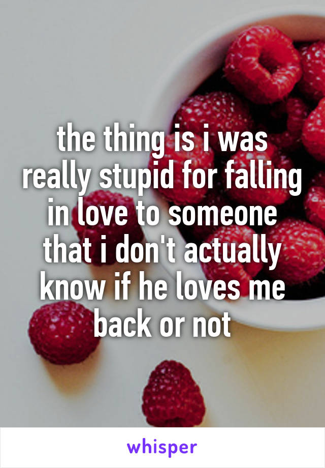 the thing is i was really stupid for falling in love to someone that i don't actually know if he loves me back or not