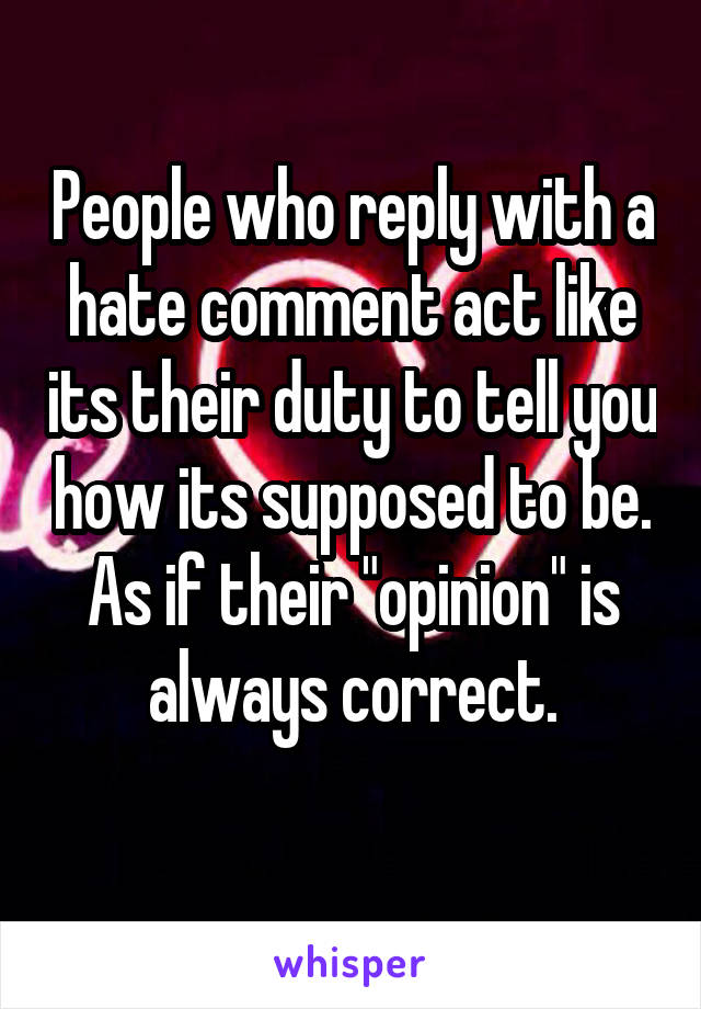 """People who reply with a hate comment act like its their duty to tell you how its supposed to be. As if their """"opinion"""" is always correct."""