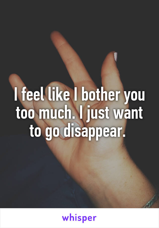I feel like I bother you too much. I just want to go disappear.