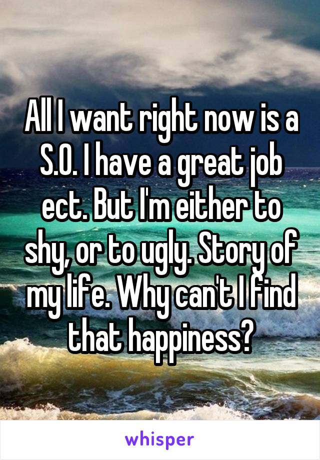 All I want right now is a S.O. I have a great job ect. But I'm either to shy, or to ugly. Story of my life. Why can't I find that happiness?