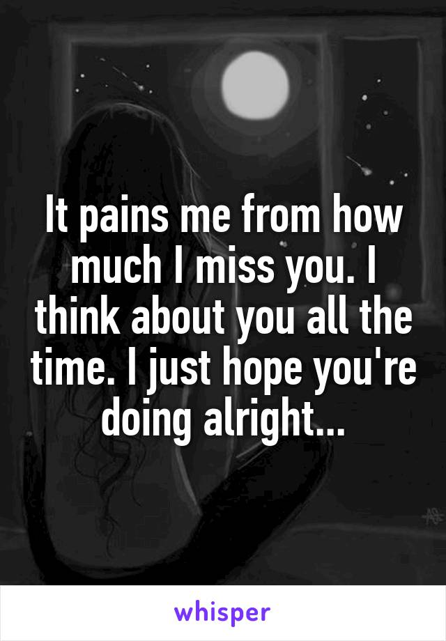 It pains me from how much I miss you. I think about you all the time. I just hope you're doing alright...