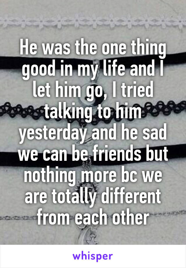 He was the one thing good in my life and I let him go, I tried talking to him yesterday and he sad we can be friends but nothing more bc we are totally different from each other