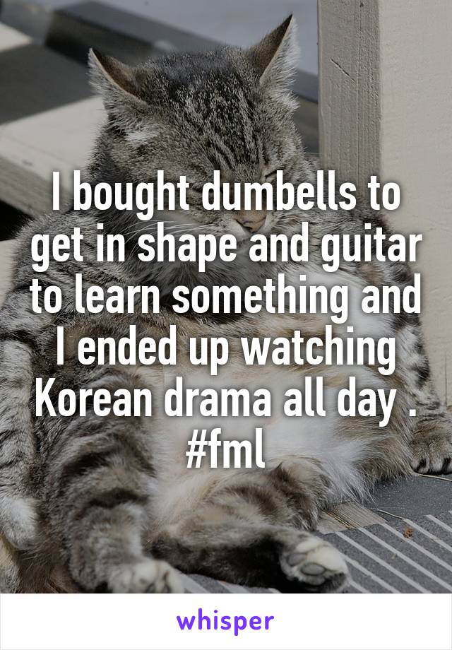I bought dumbells to get in shape and guitar to learn something and I ended up watching Korean drama all day . #fml