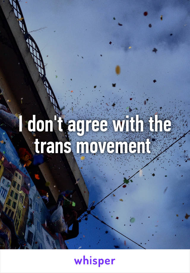 I don't agree with the trans movement