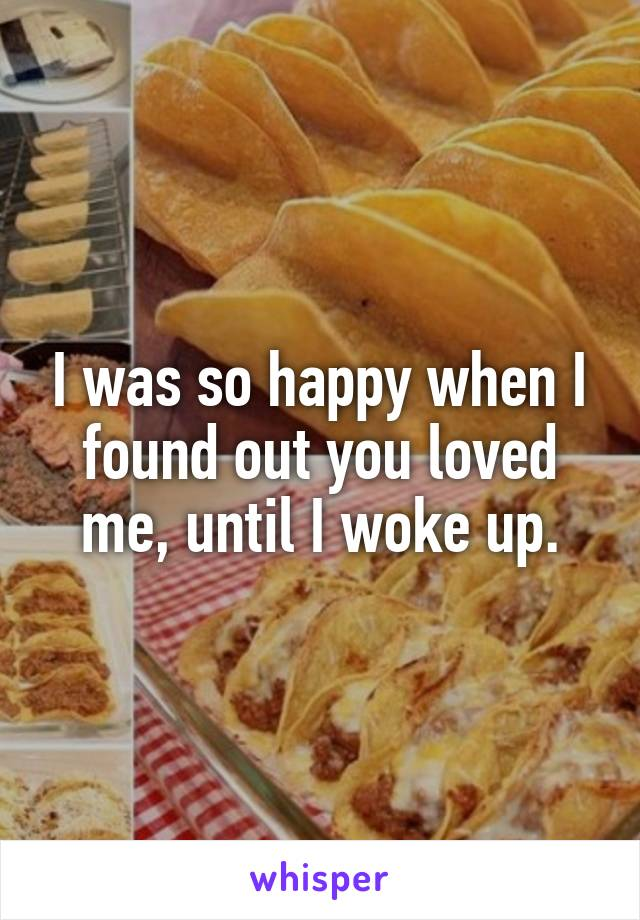 I was so happy when I found out you loved me, until I woke up.