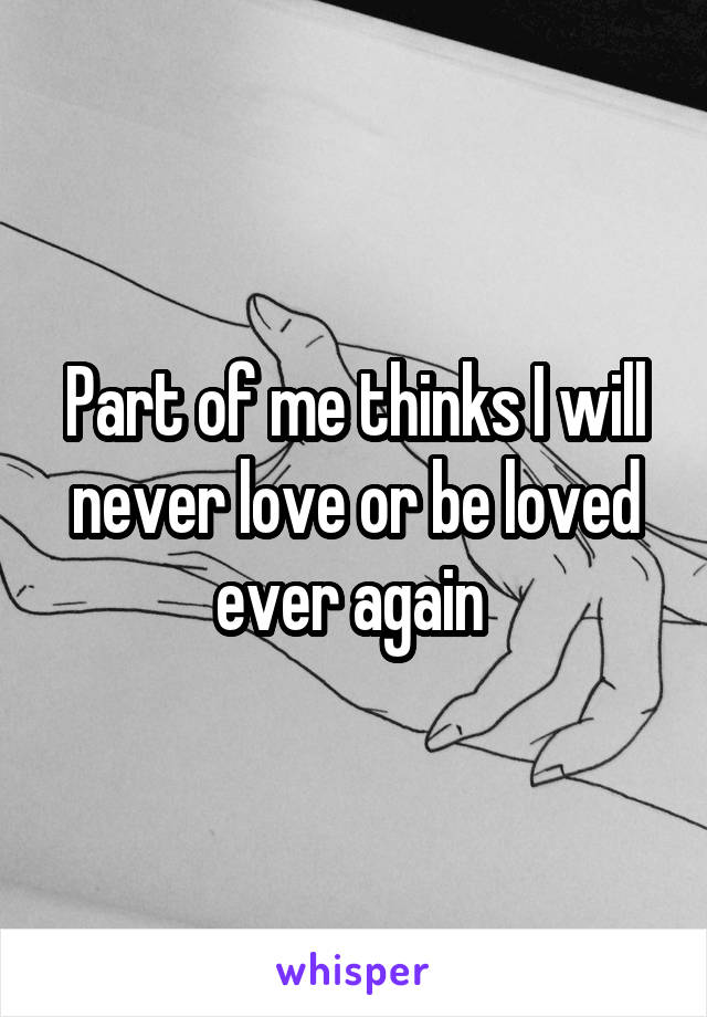 Part of me thinks I will never love or be loved ever again