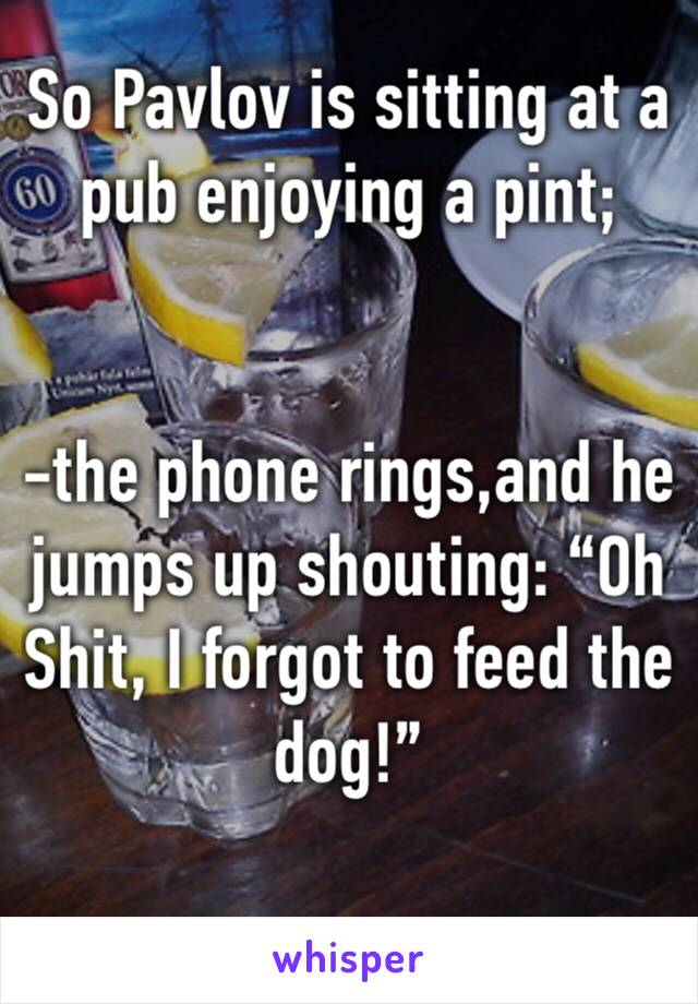 "So Pavlov is sitting at a pub enjoying a pint;    -the phone rings,and he jumps up shouting: ""Oh Shit, I forgot to feed the dog!"""