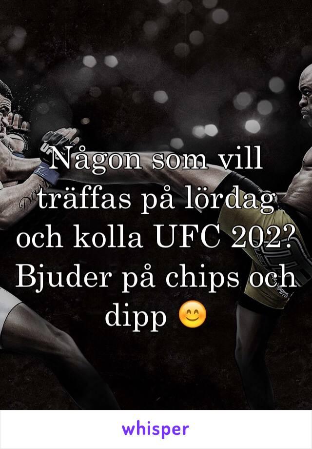 Någon som vill träffas på lördag och kolla UFC 202? Bjuder på chips och dipp 😊