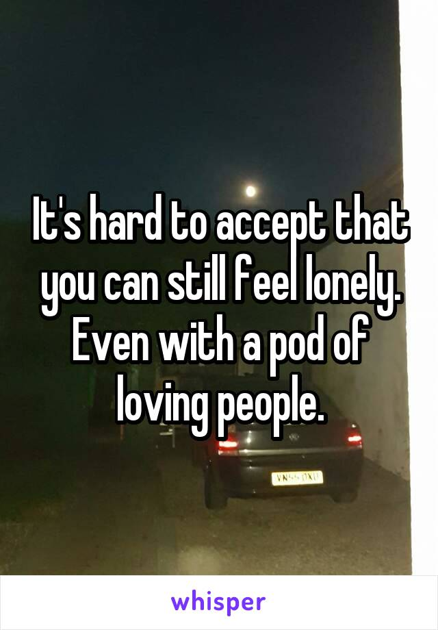 It's hard to accept that you can still feel lonely. Even with a pod of loving people.