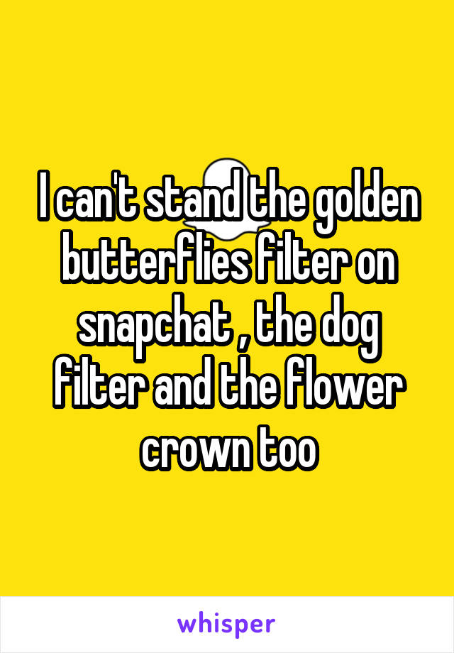 I can't stand the golden butterflies filter on snapchat , the dog filter and the flower crown too