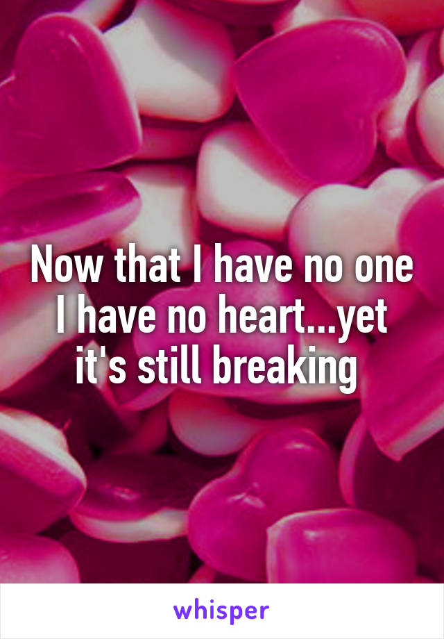 Now that I have no one I have no heart...yet it's still breaking