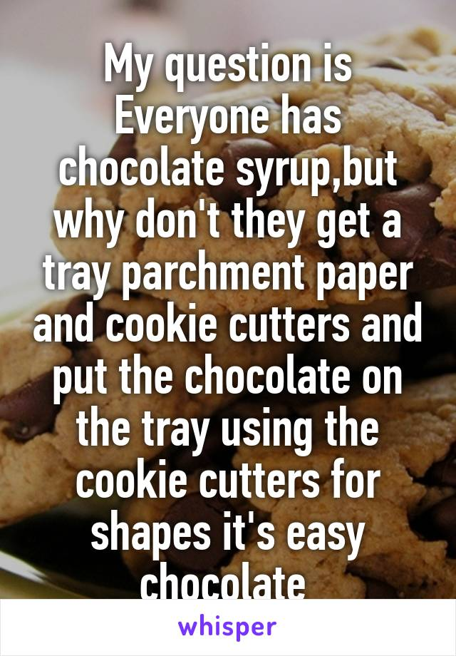 My question is Everyone has chocolate syrup,but why don't they get a tray parchment paper and cookie cutters and put the chocolate on the tray using the cookie cutters for shapes it's easy chocolate