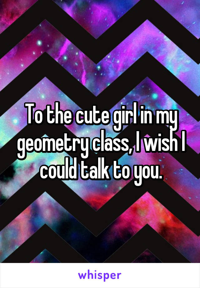 To the cute girl in my geometry class, I wish I could talk to you.