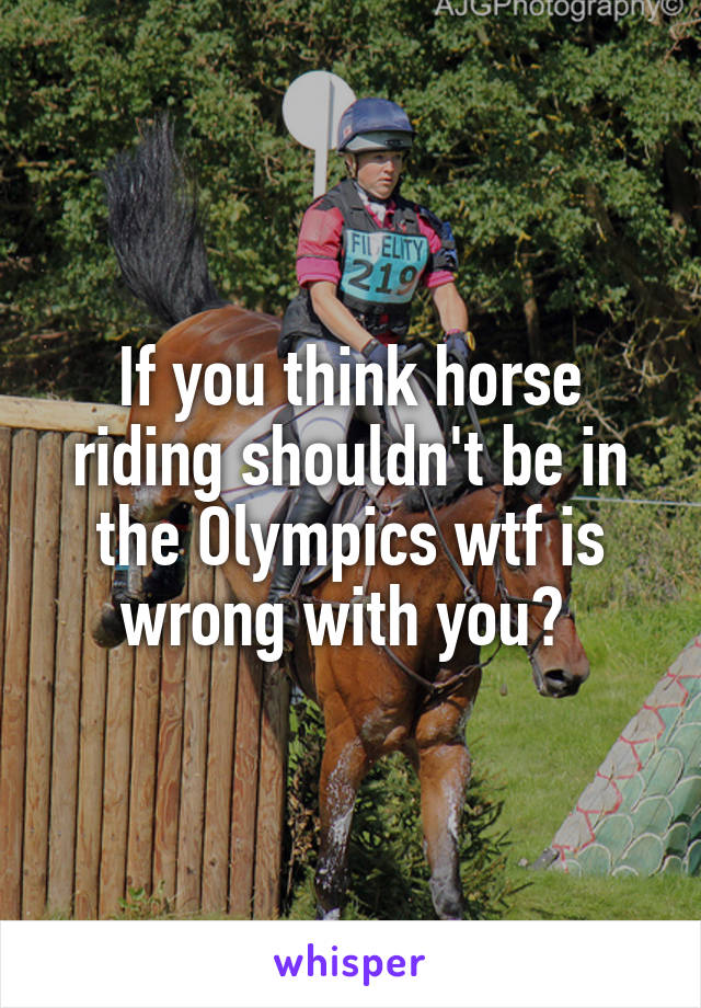 If you think horse riding shouldn't be in the Olympics wtf is wrong with you?