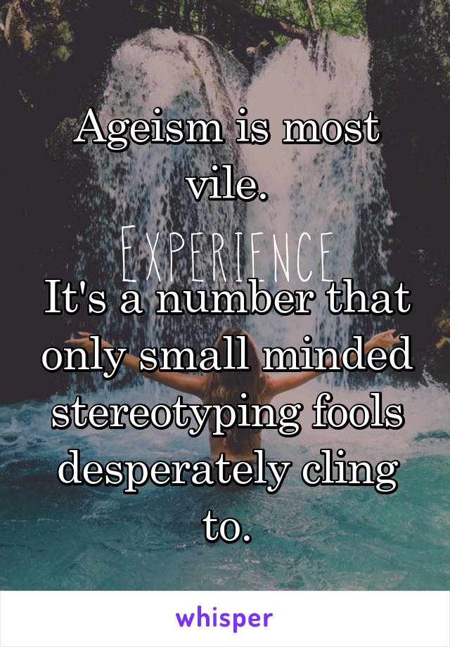 Ageism is most vile.  It's a number that only small minded stereotyping fools desperately cling to.