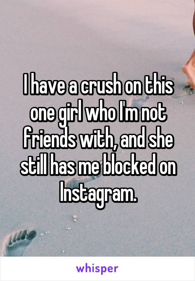 I have a crush on this one girl who I'm not friends with, and she still has me blocked on Instagram.