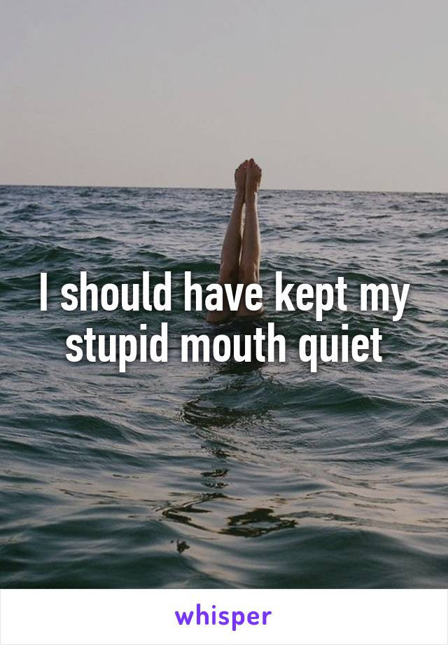 I should have kept my stupid mouth quiet