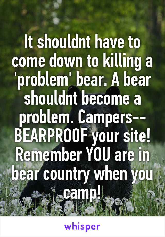 It shouldnt have to come down to killing a 'problem' bear. A bear shouldnt become a problem. Campers-- BEARPROOF your site! Remember YOU are in bear country when you camp!
