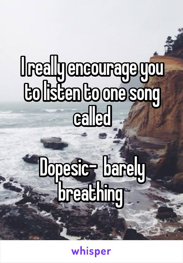 I really encourage you to listen to one song called  Dopesic-  barely breathing