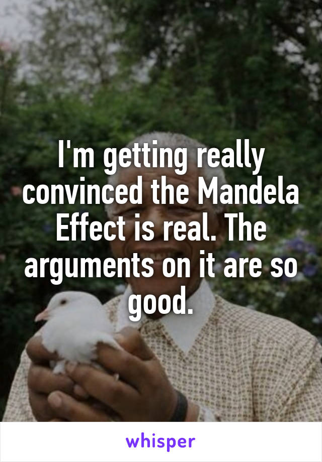 I'm getting really convinced the Mandela Effect is real. The arguments on it are so good.