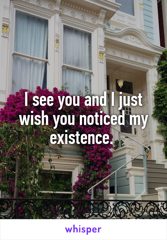 I see you and I just wish you noticed my existence.