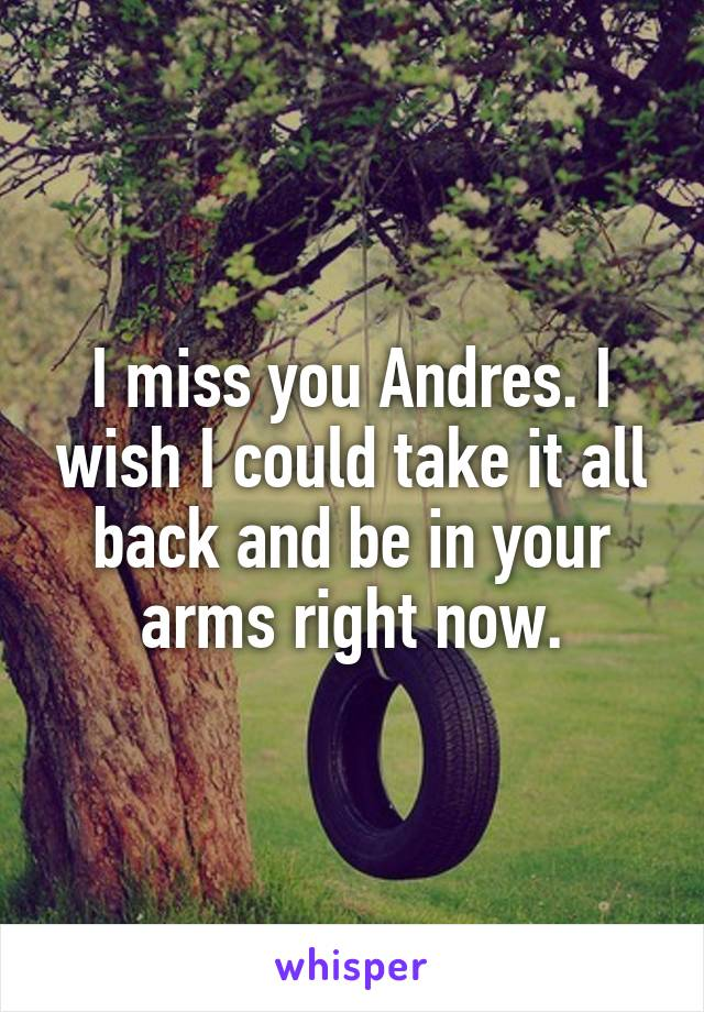 I miss you Andres. I wish I could take it all back and be in your arms right now.