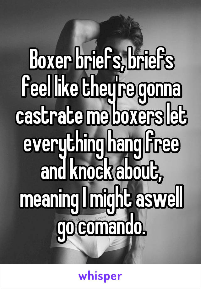 Boxer briefs, briefs feel like they're gonna castrate me boxers let everything hang free and knock about, meaning I might aswell go comando.