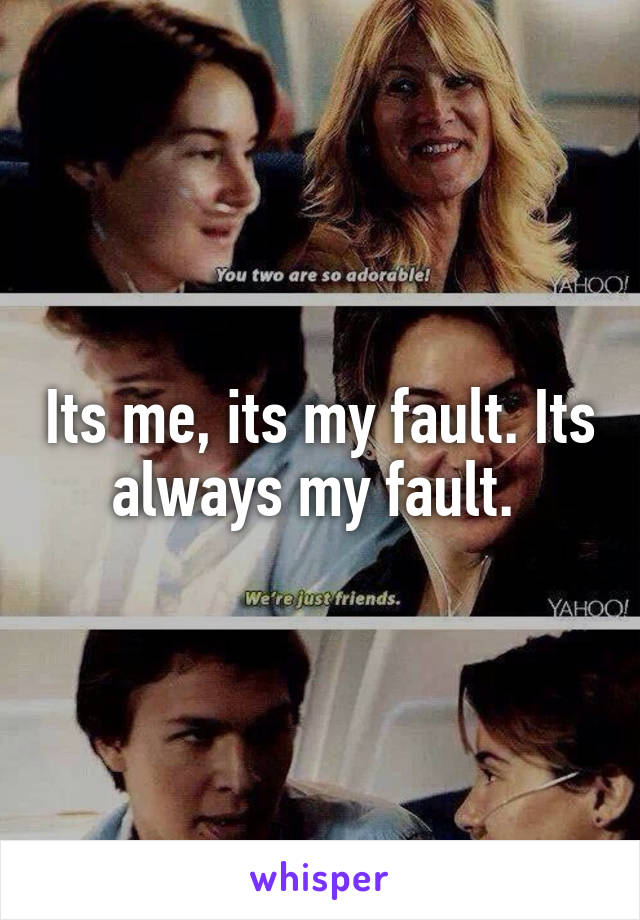Its me, its my fault. Its always my fault.