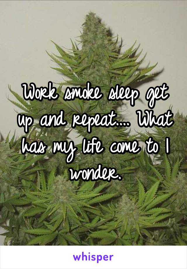 Work smoke sleep get up and repeat.... What has my life come to I wonder.