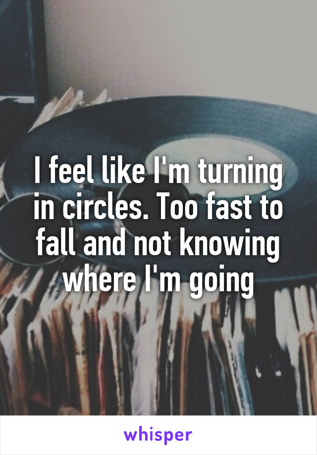 I feel like I'm turning in circles. Too fast to fall and not knowing where I'm going