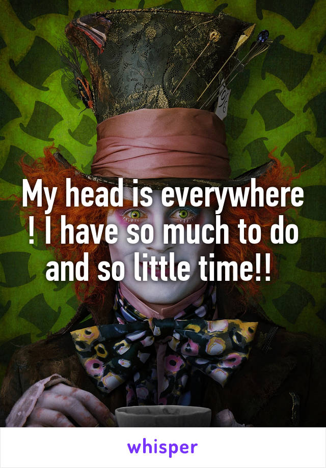 My head is everywhere ! I have so much to do and so little time!!
