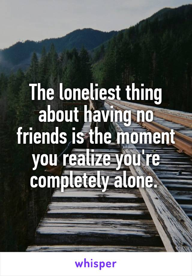 The loneliest thing about having no friends is the moment you realize you're completely alone.