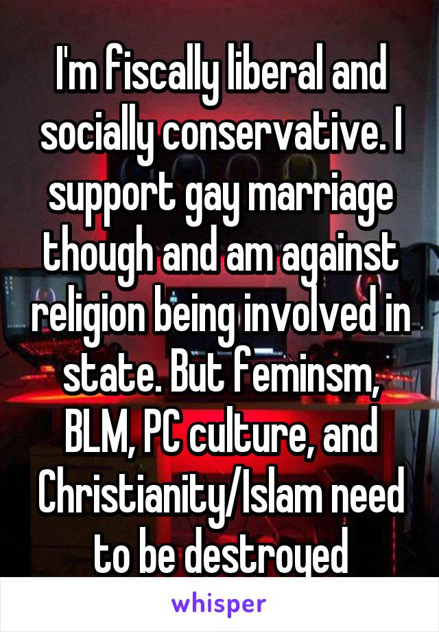 I'm fiscally liberal and socially conservative. I support gay marriage though and am against religion being involved in state. But feminsm, BLM, PC culture, and Christianity/Islam need to be destroyed