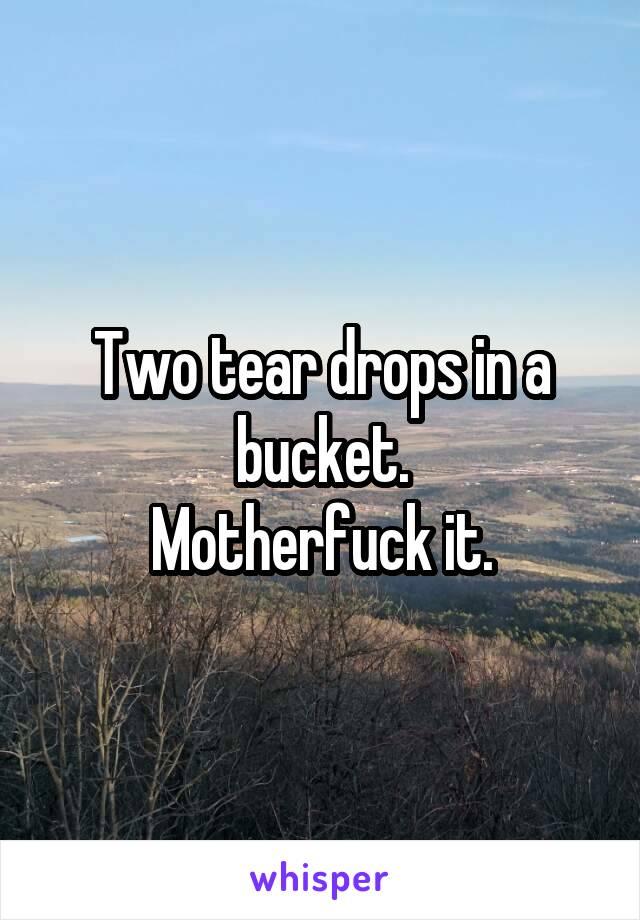 Two tear drops in a bucket. Motherfuck it.