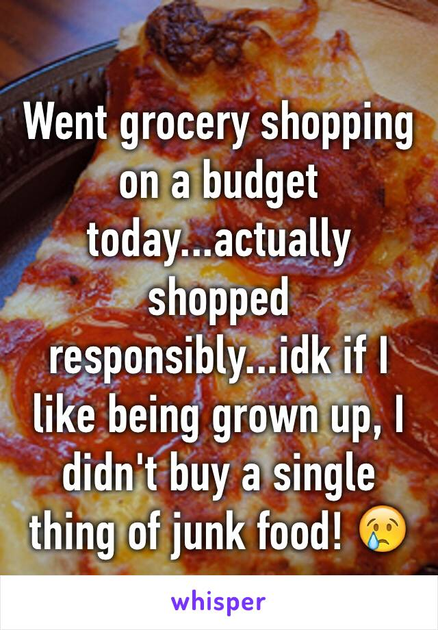 Went grocery shopping on a budget today...actually shopped responsibly...idk if I like being grown up, I didn't buy a single thing of junk food! 😢