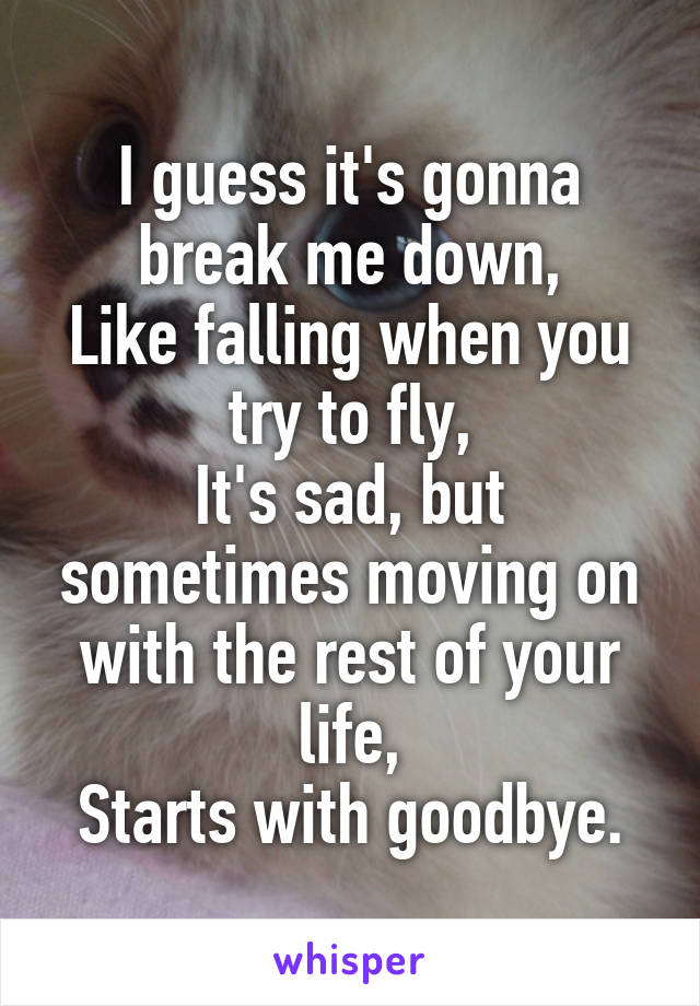 I guess it's gonna break me down, Like falling when you try to fly, It's sad, but sometimes moving on with the rest of your life, Starts with goodbye.