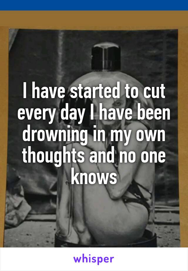 I have started to cut every day I have been drowning in my own thoughts and no one knows