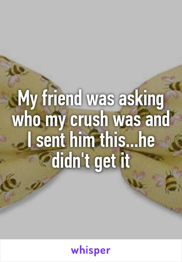 My friend was asking who my crush was and I sent him this...he didn't get it