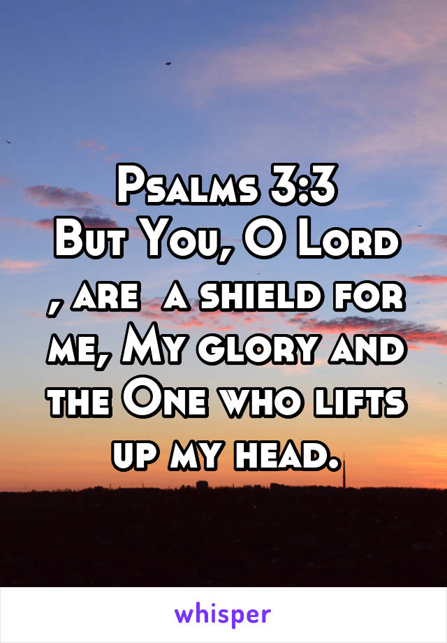 Psalms 3:3 But You, O Lord , are  a shield for me, My glory and the One who lifts up my head.
