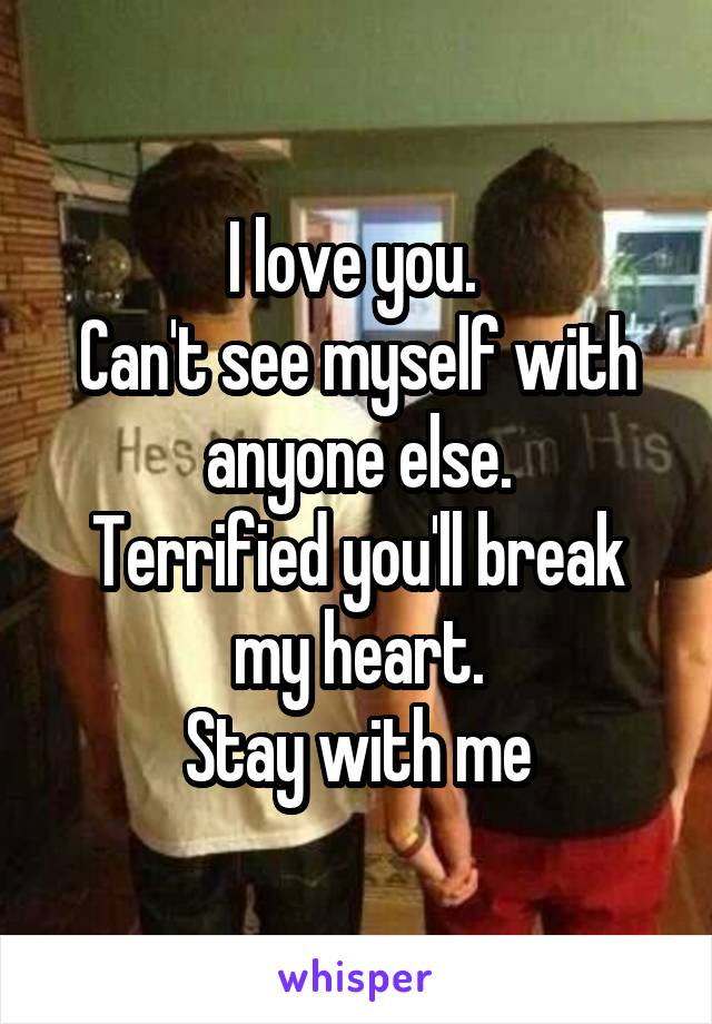 I love you.  Can't see myself with anyone else. Terrified you'll break my heart. Stay with me