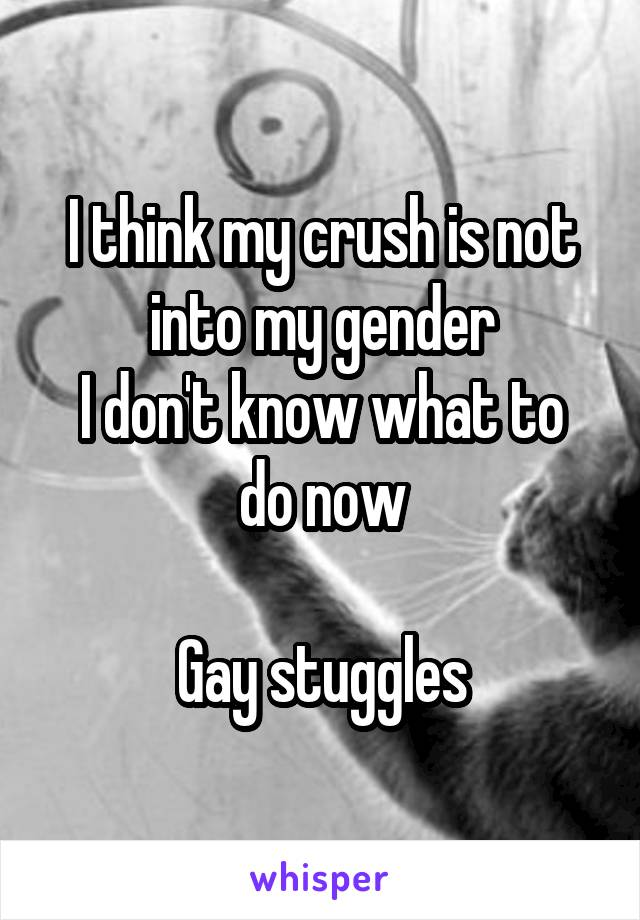 I think my crush is not into my gender I don't know what to do now  Gay stuggles