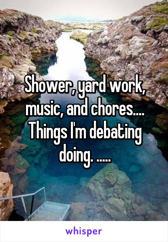Shower, yard work, music, and chores.... Things I'm debating doing. .....